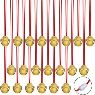 URATOT 24 Pieces Christmas Jingle Bell Necklaces Christmas Decoration Bell Necklaces with Connect Ribbons for Christmas Supplies (Golden)