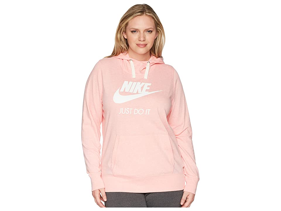 Nike NSW Gym Vintage Pullover Hoodie (Size 1X-3X) (Bleached Coral/Sail) Women