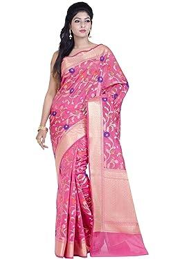Chandrakala's Women's Cotton Silk Blend Indian Ethnic Banarasi Saree with unstitched Blousepiece(1115)