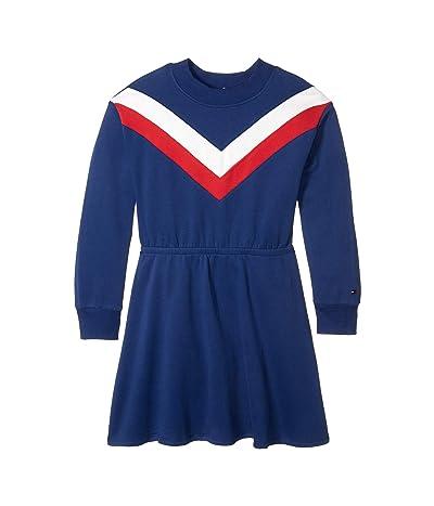 Tommy Hilfiger Kids Chevron Sweatshirt Dress (Big Kids) (Chevron Navy Blue) Girl
