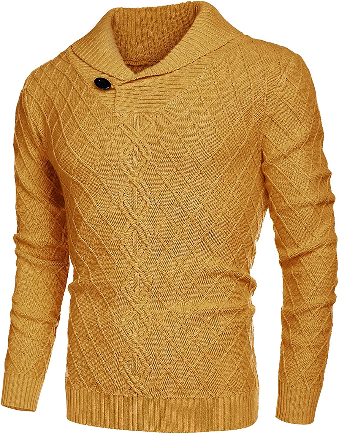 COOFANDY Men's Shawl Collar Sweater Cable Knitted Pullover Sweaters Fall Winter Casual Patterned Sweater