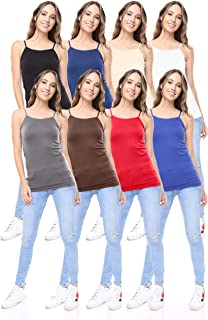8 Pack Women's Premium Seamless Basic Layering Camis Tank Tops