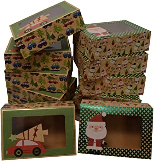 Christmas Doughnut and Cookie gift boxes; rectangle with clear window; brown kraft with hot stamp Christmas designs; 6 of each print; set of 12 boxes (12 x 3.75 x 2.75) (12, 8.6
