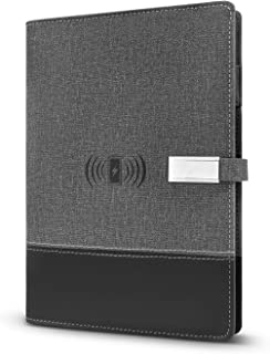 Classic Notebook TIANLI Grey PU Cover with Power Bank 16GB U Disk Charging Plug Wireless Charging Paper Size:8.3 Inch x 5.7 Inch
