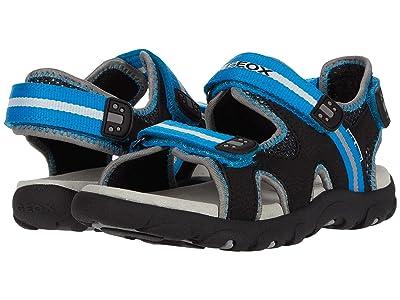 Geox Kids Sandal Strada 19 (Little Kid/Big Kid) (Black/Light Blue) Boy
