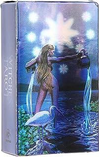 ガイドブックレット付き魔女タロットカードデッキ78タロットカード、 初心者のための将来の運命予測カードタロット、 ホログラム紙英語占いカードインタラクティブボードゲーム大人カード(魔女のタロット)