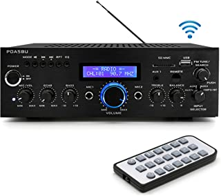 Pyle  200W Audio Stereo Receiver - Wireless Bluetooth Home Power Amplifier Home Entertainment System w/ AUX IN, USB Port, DVD CD Player, AM FM Radio, 2 Karaoke Microphone Input, Remote - PDA5BU.0