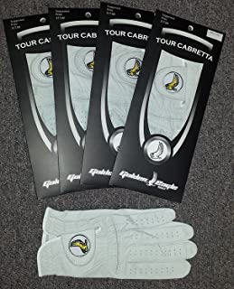 Golden Eagle Golf 4 Pack Glove 100% Cabretta Leather Left Hand Glove for Right Hand Player