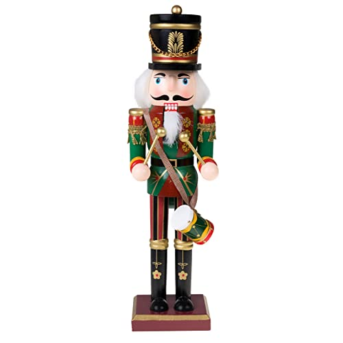 c3361f458 Clever Creations Traditional Drummer Soldier Nutcracker Wearing Green  Uniform with Drum | Collectible Wooden Christmas Nutcracker