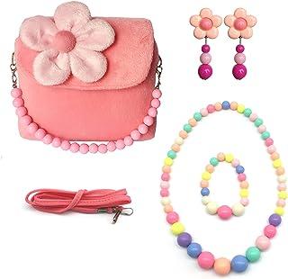 Elesa Miracle Little Girl HandBag مجموعه زیبایی کیف دستی مخمل خواب دار + گوشواره های Clip-on به شکل گل + گردنبند و دستبند (صورتی)