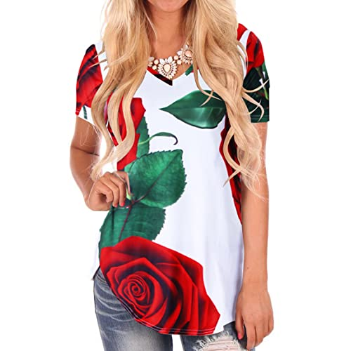 Red Rose Digitally Printed White Ladies Fitted T-Shirt