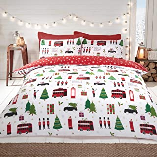 Rapport London Christmas Collage UK Double/US Full Duvet Cover and Pillowcase Set