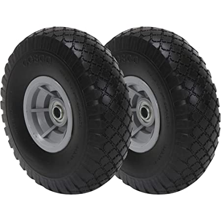 Ribbed Tread Set of 2 1//2-Inch Bore Centered Axle,Black Shepherd Hardware 9596 10-Inch Semi-Pneumatic Rubber Tire Steel Hub with Ball Bearings