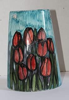 Tulipanes, flores- Teja de cerámica hechas a mano, base cm 10.8 y alto con cm 14.7. Hecho en Italia, Toscana, Lucca. Creado por Davide Pacini.