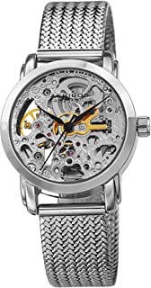 Skeleton Women's Watch – See Through Dial with Automatic Movement On Stainless Steel Mesh Bracelet - AK1107
