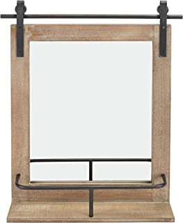 Danya B. Rustic Industrial Wood-Framed Wall Mount Barn Door Vanity Mirror with Shelf and Iron Hardware - Decorative Rectangle Rustic Bathroom Mirror