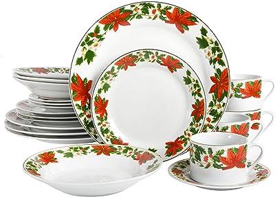 Gibson Poinsettia Holiday Dinnerware Set 20 Piece White Christmas China Kitchen Dining