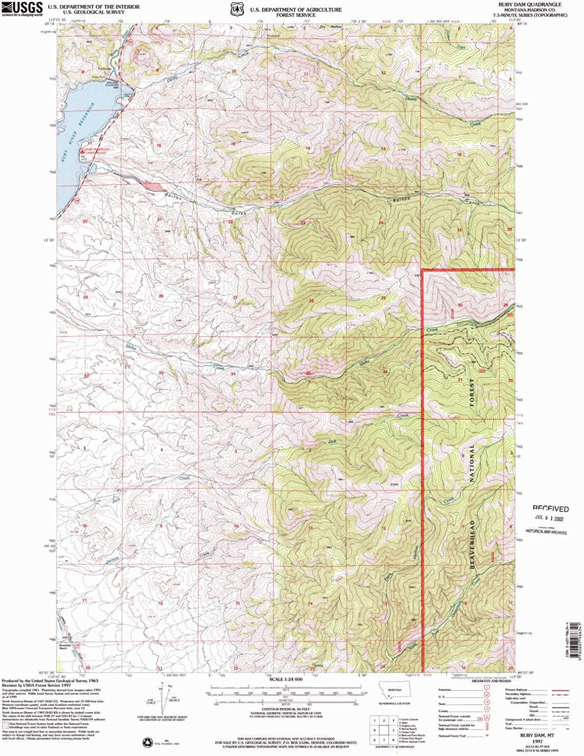 Ruby Dam MT topo map, 1 24000 Scale, 7.5 X 7.5 Minute, Historical, 1997, Updated 2002, 26.8 x 22 in
