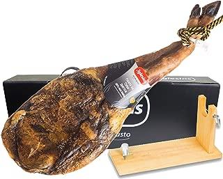 IGLESIAS - Paleta de Jamón Ibérico - Paleta Cebo Ibérica 50% Raza Ibérica de 4,8 a 5kg + Jamonero de Regalo en Caja Negra de Regalo