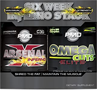 PMD Sports Six Week Inferno Stack - Maximum Strength Fat Burner and CLA Omega Fatty Acid to Lose Fat Fast and Increase Muscle Tone - Arsenal X Inferno/120 Liquid Gels, Omega Cuts Elite/180 Softgels