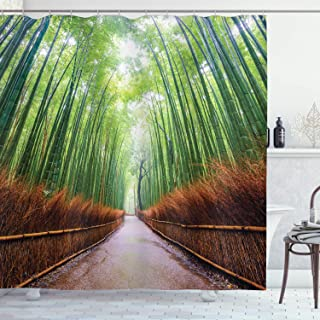 Ambesonne House Decor Collection, Path to Bamboo Forest Arashiyama Kyoto Japan Japanese Famous Landscape Image, Polyester Fabric Bathroom Shower Curtain Set with Hooks, Green Peru