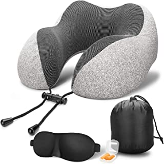 Travel Pillow 100% Pure Memory Foam Neck Pillow, Comfortable & Breathable Cover,Machine Washable,Super Soft Pillow,Airplane Travel Kit with 3D Contoured Sleep Masks,Earplugs and Reusable Bag Grey