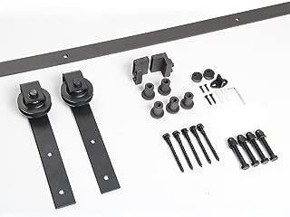 Unionline American Style 6.6 Ft Sliding Wood Barn Door Steel Hardware Dark Brown Sliding Track Kit Basic J Style