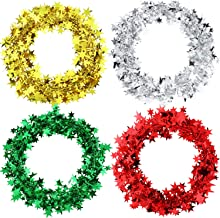 4 Rolls Glitter Star Tinsel Garland Metallic Star Wire Garland Christmas Tree Party Decorations, 7.5 Meters Long Each