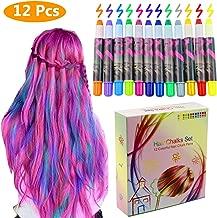 Philonext Set de tizas para el cabello -12 plumas de tiza coloridas profesionales para el pelo con cerumen no tóxico Brillo metálico para el cabello temporal, funciona en todos los colores del cabello