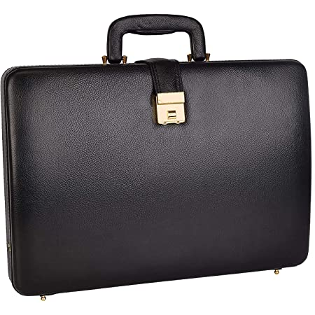 REO 100% Genuine Leather Briefcase Bag for Men |15.6'' Laptop Compartment| |Expandable Features| |High Security Combo Number Lock| Color (Black)