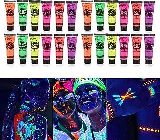 Layfuz 24 Tubes 10ml/0.34oz Art Body Paint Glow in UV Light Face & Body Paint with 6 Colors Glow Blacklight Neon Fluoresce...