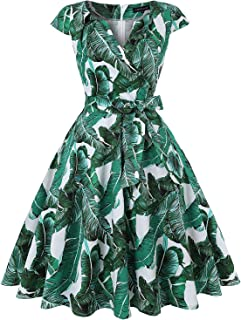Women's Vintage 1950s Retro Cap-Sleeves V-Neck Rockabilly Swing Cocktail Dresses with Pockets and Belt