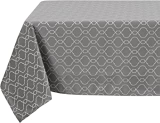 Deconovo Luxurious Table Cloth Wrinkle Resistant Jacquard Morrocan Table Cover Spillproof Tablecloth for Dining Room 54x102 Inch Grey