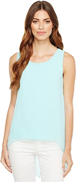 Slit Back Top with Chiffon Overlay