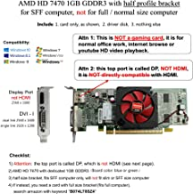 AMD radeon HD 7470 1GB 1024MB low profile video card with display port and DVI for SFF / slim desktop computer