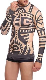 COOFANDY Men's Slim Fit African Tribal Tattoo T-Shirt Maui Printed Nude Halloween Shirt