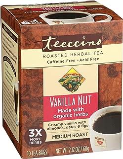 Teeccino Vanilla Nut Chicory Roasted Herbal Tea, Caffeine Free, Acid Free, Prebiotic Coffee Substitute, 10 Tea Bags