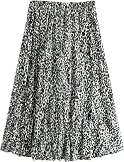 Women's Leopard Print Elastic High Waist A Line Pleated Midi Skirt