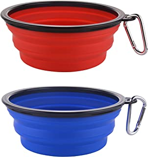 Guardians Large Collapsible Dog Bowls, 34oz Portable Foldable Water Bowls Food Dishes with Carabiner Clip for Travel, 2 Pack