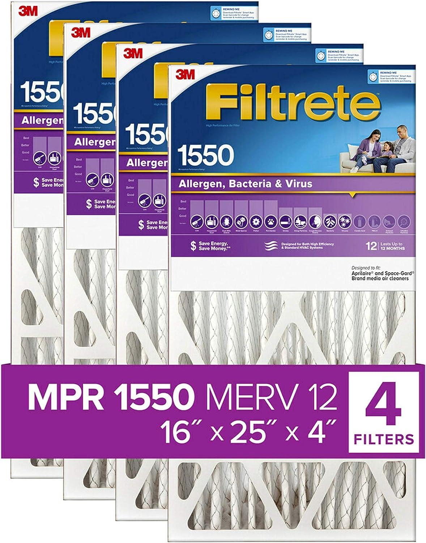 Filtrete 16x25x4 SlimFit AC Furnace famous Air 1550 MPR DP Sales for sale Filter H