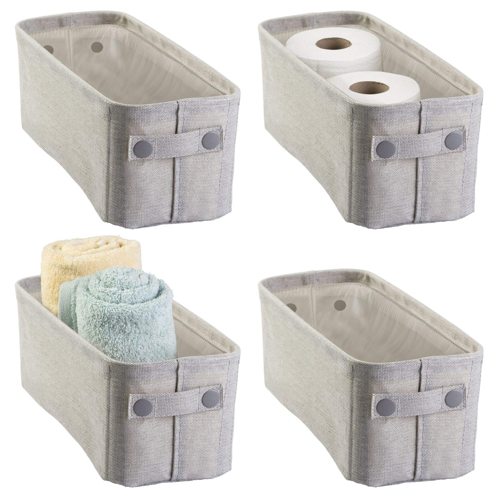 Amazon Com Mdesign Soft Cotton Fabric Bathroom Storage Bin With Attached Handles Organizer For Towels Toilet Paper Rolls For Back Of Toilet Cabinets And Vanities 4 Pack Light Gray Home Kitchen