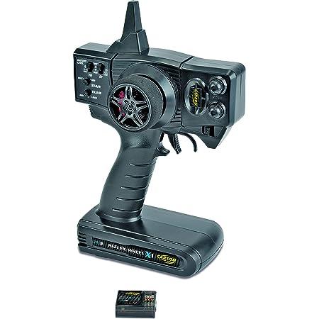 Carson 500500048 FS Reflex X1 2 canaux 2.4G-Accessoires pour véhicule, Compatible Tamiya KIT, modélisme, récepteur, RC Spark, 2 télécommande 4 GHz, Noir