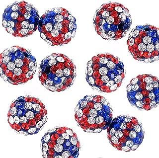 RUBYCA UK Union Jack Flag Czech Crystal Round Disco Ball Clay Beads fit Shamballa Jewelry (20pcs, 10mm)