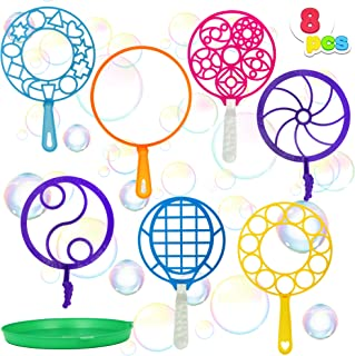JOYIN Bubble Wands Set, 8 Pcs Giant Bubble Wands Toy Set Large Bubble Wands with Tray Bulk for Kids Summer Outdoor Activit...