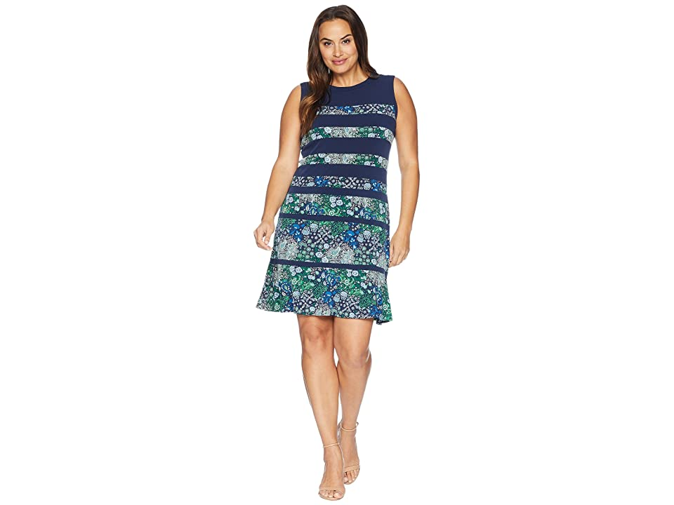 MICHAEL Michael Kors Plus Size Paisley Remix Paneled Dress (True Navy Multi) Women