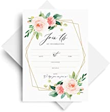 Bliss Collections Join Us Invitations with Envelopes, Bridal Shower Invites, Baby Shower, Birthday, Wedding, Baptism, Geometric Blush Floral, Coral & Greenery Watercolor fill-in style invites, 25 Pack