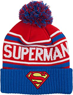 c678e644f6c DC Comics Men s Superman Cuffed Pom Beanie with Embroidered Logo