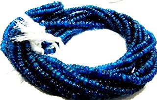 Natural Neon Apatite Rondelle Plain Smooth 3 mm to 5 mm Beads Strand 13 inches Long, Blue Color Gemstone Jewelry Making Beads (4-5 mm)