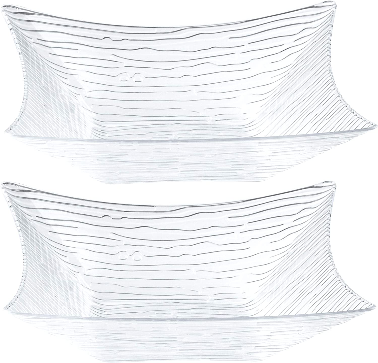 Plasticpro Square Ranking TOP18 Clear Texured Serving Bowls Max 83% OFF Snack for Party