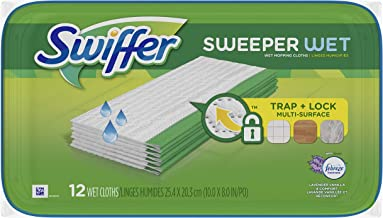 Swiffer Sweeper Wet Mopping Pad Refills for Floor Mop with Febreze Lavender Vanilla & Comfort Scent 12 Count